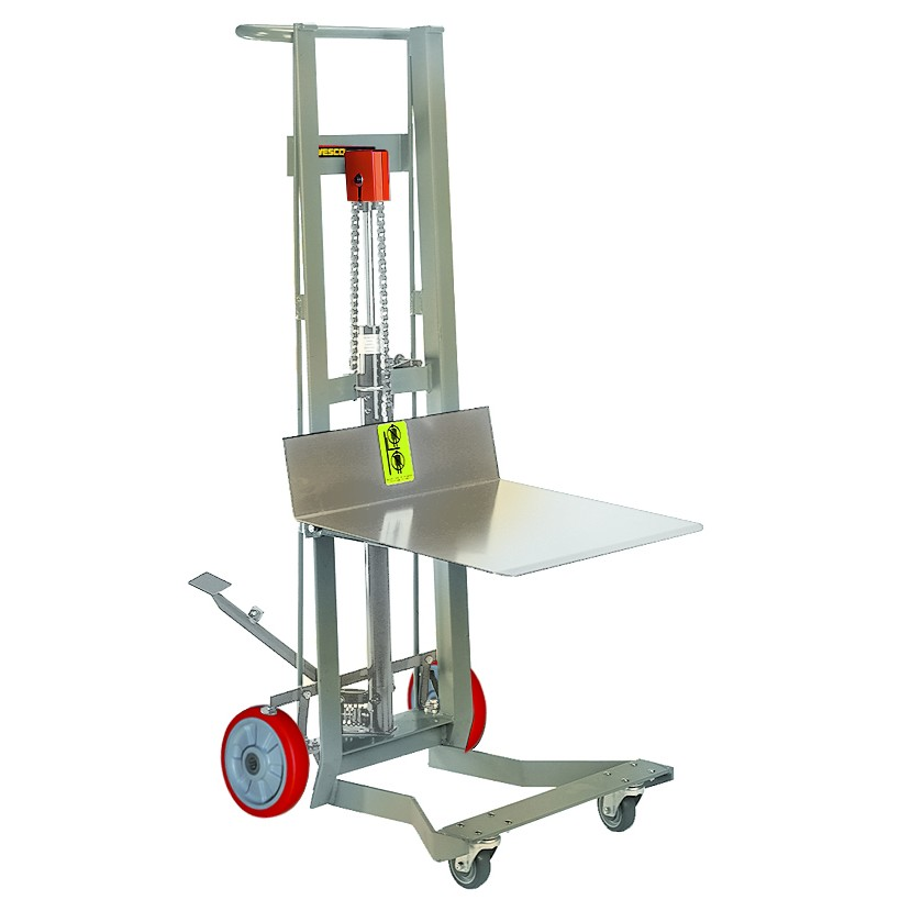 Stainless Steel Forklift : Four wheel stainless steel foot pump platform lift truck