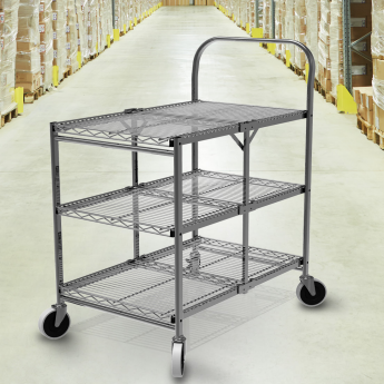 Collapsible Utility Cart With 3 Shelves 5