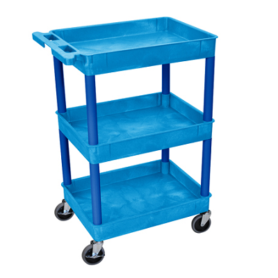 3 Tub(recessed) Shelf Utility Cart, in Black, Red, Grey, Putty, Blue