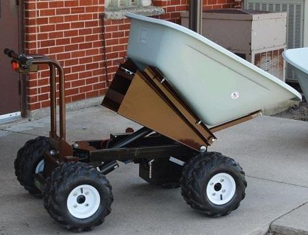 All Terrain Tires >> 4 Wheel Power Drive and Dump Wheel Barrow - 8 Cubic Foot
