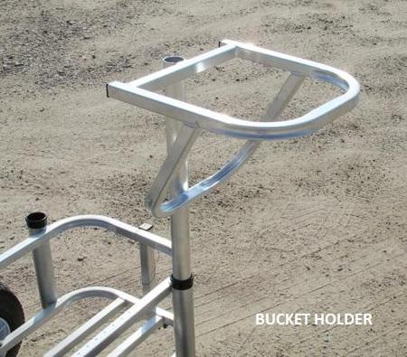 Senior aluminum fishing cart by reels on wheels for Fishing caddy bucket