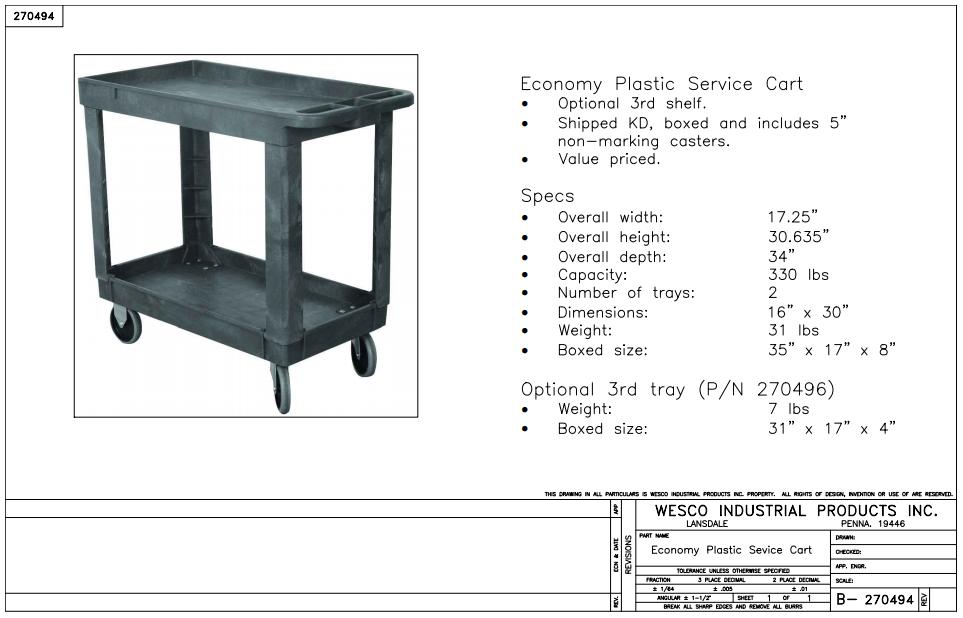 Plastic Service Cart 2 Shelves