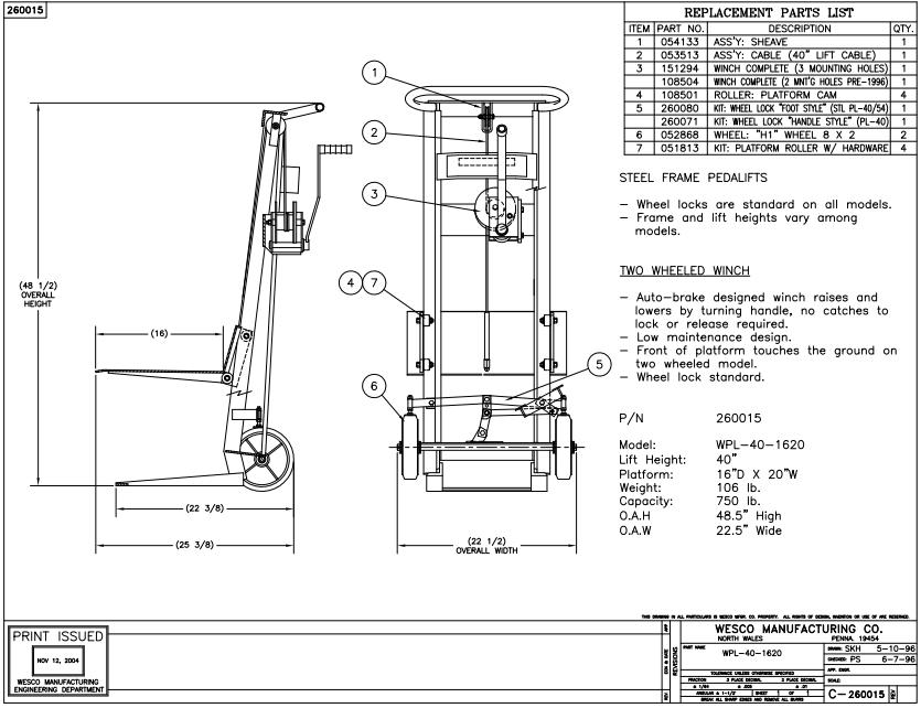 Two Wheeled Hand Winch Lift Platform Stacker 2