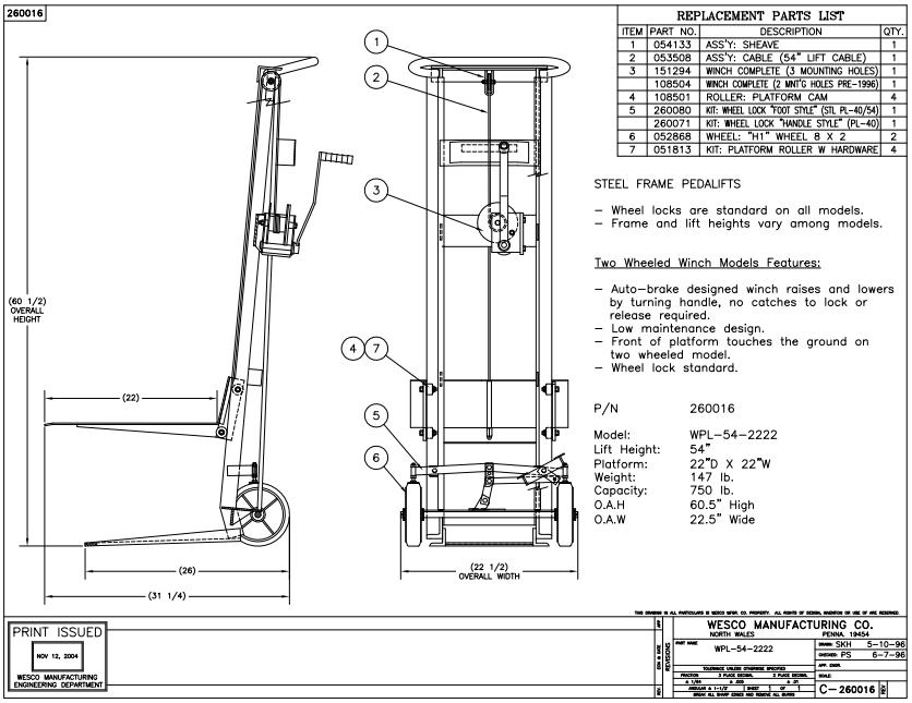 Two Wheeled Hand Winch Lift Platform Stacker 4