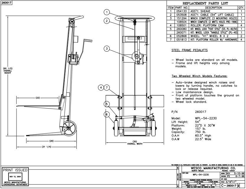 Two Wheeled Hand Winch Lift Platform Stacker 6