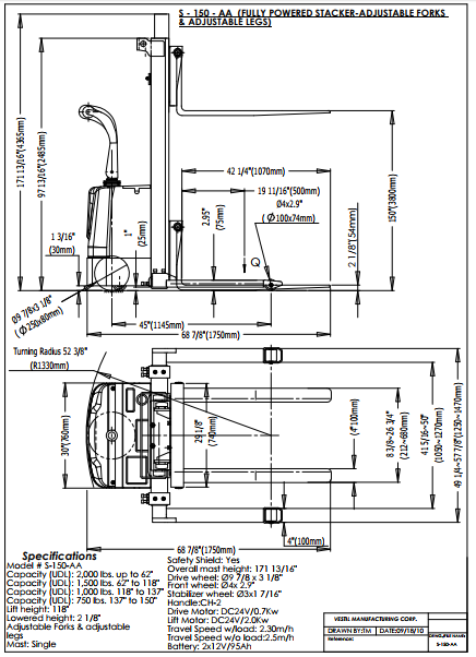 Vestil Motorized Stacker Lift And Drive S-150-AA 5