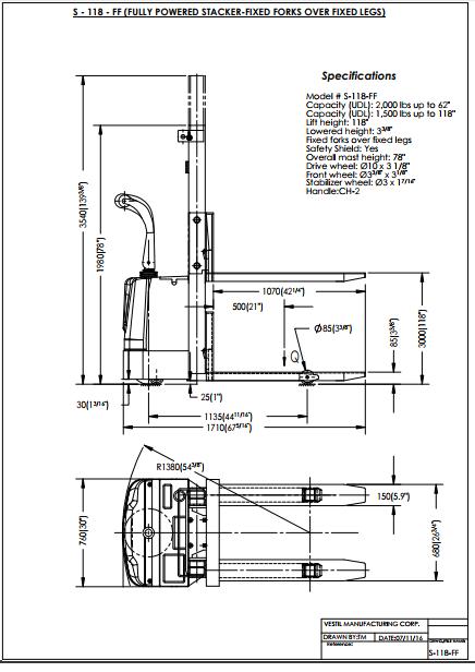 Vestil Powered Stacker S-118-FF 4