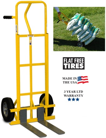 fork hand truck for mini skids with flat free tires 500lb capacity. Black Bedroom Furniture Sets. Home Design Ideas
