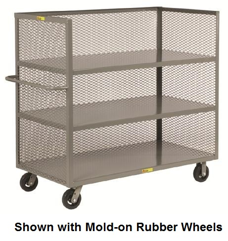 Tall Steel Rolling Cart 3 Shelves With 3 Enclosed Sides