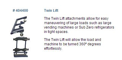 The Twin Lift attachments allow for easy maneuvering of large loads such as large vending machines or Sub Zero refrigerators in tight spaces.  The Twin Lift will allow the load and machine to be turned 360º degrees effortlessly.