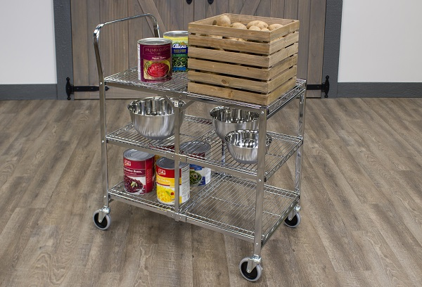 Collapsible Utility Cart With 3 Shelves 2