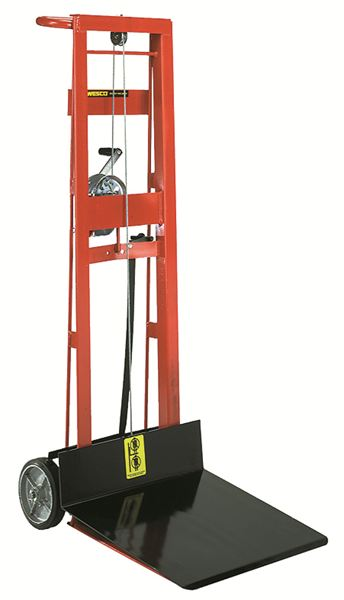 Two Wheeled Hand Winch Lift Platform Stacker 1