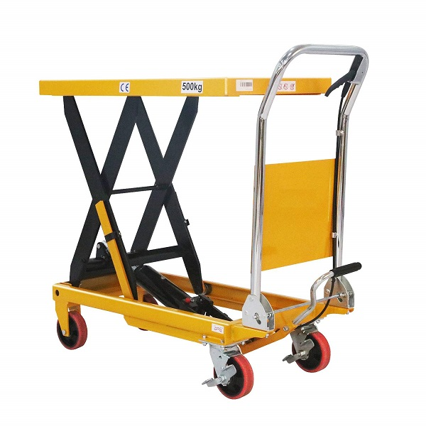 "1100 lbs Capacity Manual Single Scissor Lift Table - 35.4"" Lift"