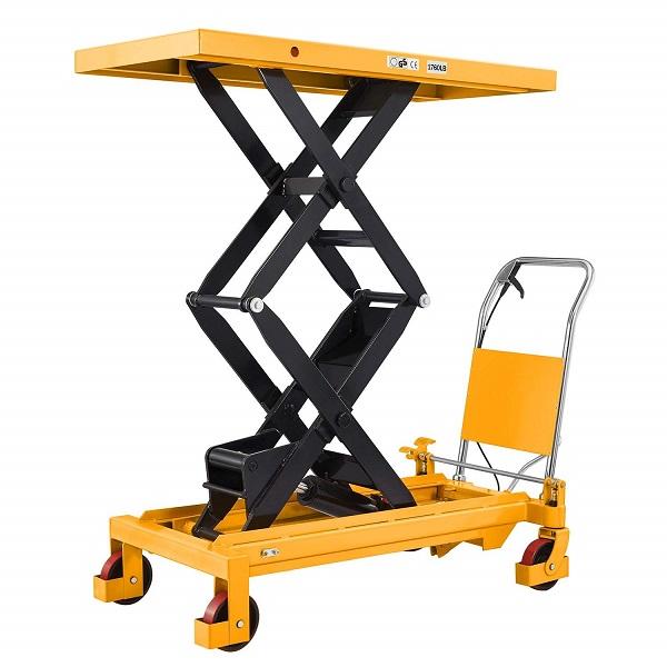 "1760 lbs Capacity Manual Double Scissor Lift Table - 59"" Lift"