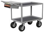 2 Steel Retaining Lip Shelf Cart with Non-Slip Vinyl Surface