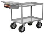2 Steel Retaining Lip Shelf Cart with Computer Shelf
