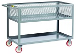 "2 Shelf Cart with 12"" Deep Mesh Sides and 5"" Pneumatic Wheels"