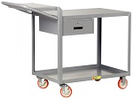 2 Steel Flush Top Shelf Order-Picking Cart with Storage Drawer