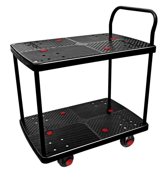 "2 Shelf Silent Platform Cart 700lb capacity 19"" Wide x 28"" Long"