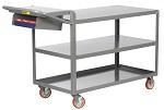 3 Steel Flush Shelf Cart with Storage Pocket