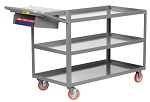 3 Steel Retaining Lip Shelf Cart with Storage Pocket