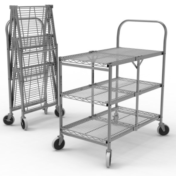 3-Shelf Collapsible Wire Utility Cart