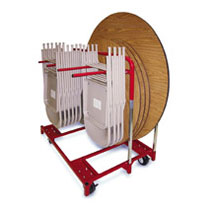 Round Table and Folding Chair Cart In 1