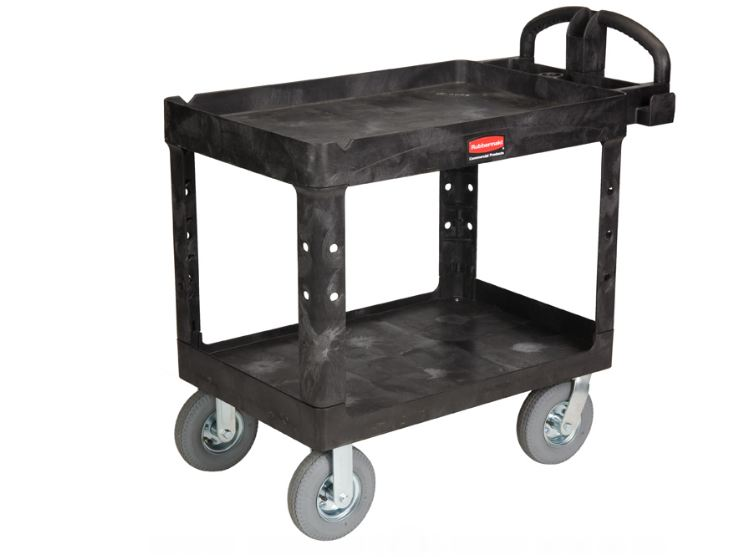 Rubbermaid 2 Shelf Utility Cart with Pneumatic Casters