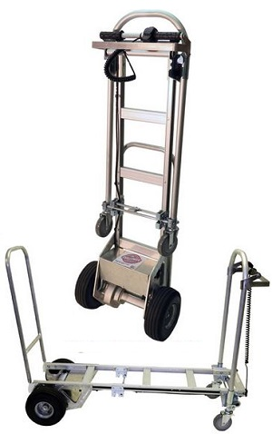 2 to 4 wheel battery powered convertible electric hand truck for Motorized hand truck dolly