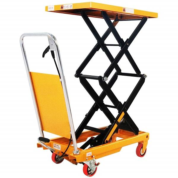 "770 lbs Capacity Manual Double Scissor Lift Table - 52.1"" Lift"