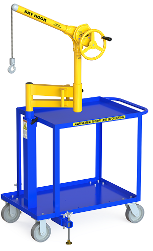 Articulated Arm Lifting Devices : Mobile cart skyhook with articulating arm