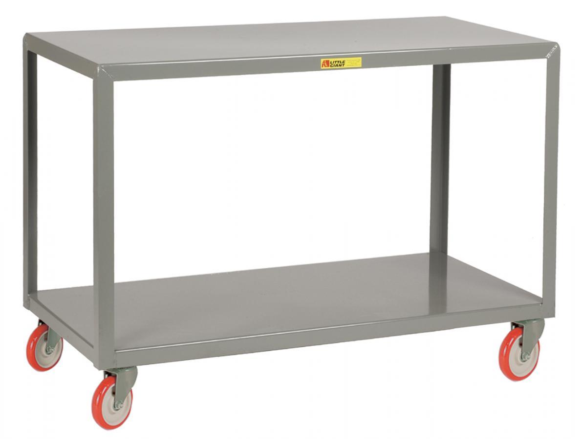4 Swivel Mobile Table With Bottom Shelf