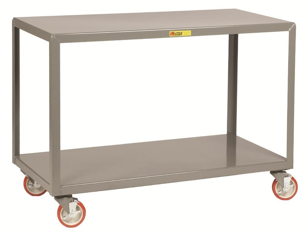 4 Swivel Mobile Table With Bottom Shelf And Brakes