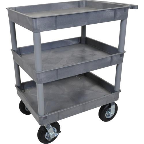 "3 Shelf Service cart with Big 8"" Pneumatic Wheels - Grey"