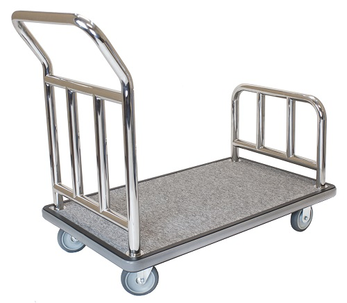 Hotel Luggage Platform Cart - Chrome and Grey Carpet