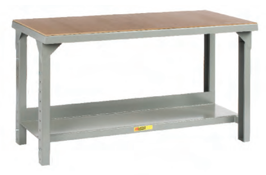 Welded Steel Workbench With Bottom Shelf And Wooden Top
