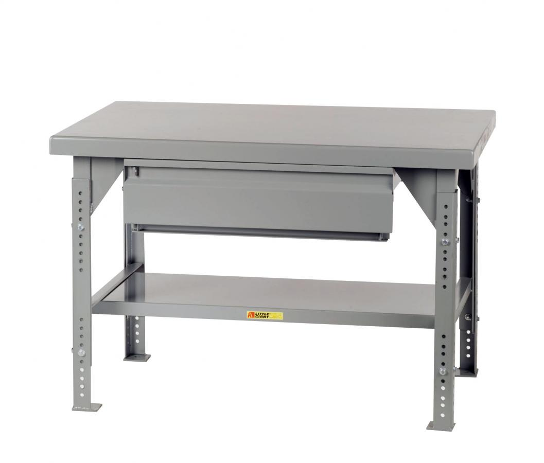 Adjustable Height Heavy-Duty Workbench With Drawer