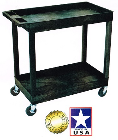 Extra Large Plastic Service Cart With 2 Or 3 Shelves