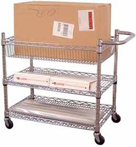 3 Adjustable Wire Shelf Mail Cart