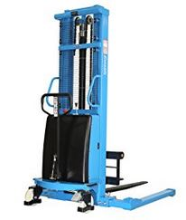 Semi-Electric Stacker With Adjustable Forks and Support Legs