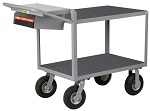 2 Steel Flush Shelf Cart with Non-Slip Vinyl Surface thumb
