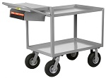 2 Steel Retaining Lip Shelf Cart with Computer Shelf thumb