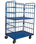 2 Shelf Enclosed Wire Cage Stock Cart
