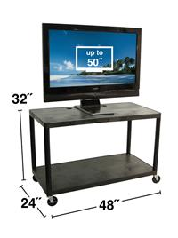 Extra Wide Cart w/ LCD Mount 2 Shelves