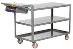 3 Steel Flush Shelf Cart with Storage Pocket thumb