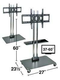 "Stationary or Mobile Flat Panel TV Stand 60"" Tall"