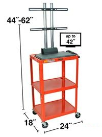 Steel Adjustable Height AV Cart with LCD mount