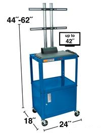 Steel Adjustable Height AV Cart with LCD mount and Cabinet