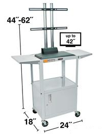 Adjustable Steel Cart with LCD Mount and Drop Leaf Shelves