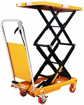 "770 lbs Capacity Manual Double Scissor Lift Table - 52.1"" Lift thumb"